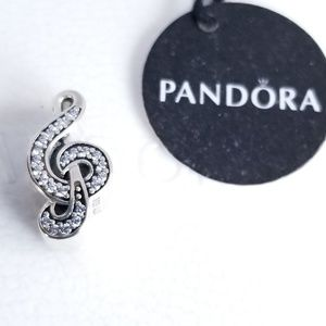 Pandora Sweet Music Treble Clef, Clear CZ Silver